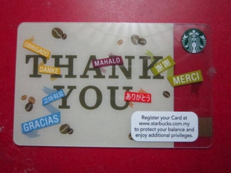 Starbucks, Coffee, Thank You, 2014, Malaysia, Asia, Limited Edition, languages, Obrigado, Danke, Gracias, Mahalo, Merci, card